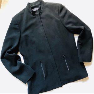 Halston black zip front blazer moto style jacket